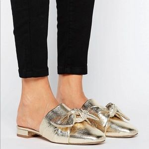 Asos Gold Mules with Bow, sz 7